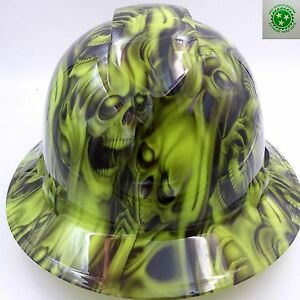 Hard Hat Full Brim Custom Hydro Dipped Osha Approved Hear No See No Skulls