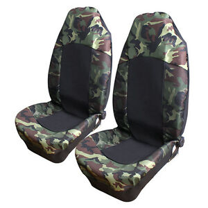 New 2pcs Universal Camo Camouflage Car Van Suv High Back Bucket Front Seat Cover