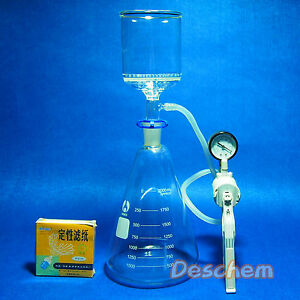 2000ml suction Filtration Unit 90mm Buchner Funnel 2 Litre Flask