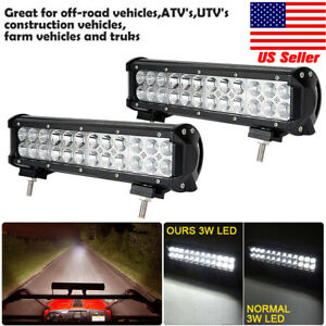 2x 12inch 72w Combo Cree Led Work Light Bar Driving Offroad Suv Atv