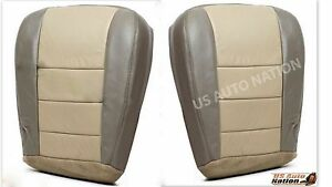 2002 2004 Ford Excursion Driver Passenger Bottom Leather Seat Cover 2 Tone Tan