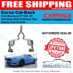 Corsa 3in Xtreme Cat back 2015 16 17 18 19 Mustang Gt Coupe Polished Quad 14335