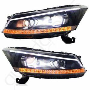 Drl Halo Led Projector Headlights Lamp Assembly For 2008 2012 Honda Accord