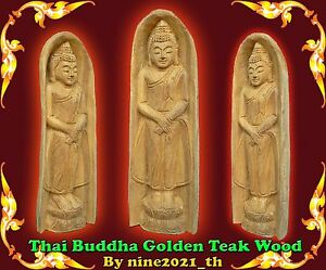Handmade Thai Amulet Buddha Standing Statue Goldenteak Wood Carving Old Antique