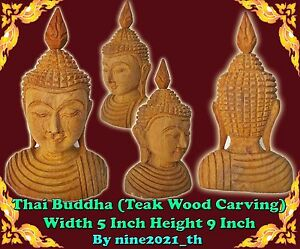 Handmade Thai Amulet Buddha Statue Golden Teak Wood Carving Old Antique