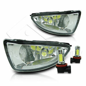 04 05 Civic 2 4dr Fog Lights W wiring Kit High Power Cob Led Bulbs Clear
