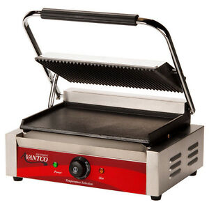 Avantco P75sg Grooved Top Smooth Bottom Commercial Panini Sandwich Grill Press