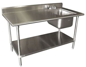 Advance Tabco 72 x30 Stainless Work Table W Prep Sink Stainless Shelf