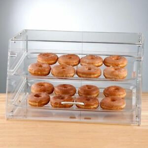 New 2 Tray Bakery Display Case Front Rear Door Donut Cookie Pastry Hotel Store