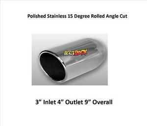 Brand New Polished Stainless Exhaust Tip Rolled Angle 3 In 4 Out 9 L
