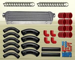 2 5 Chrome Intercooler Black Piping Kit Coupler Red Turbocharger Supercharger