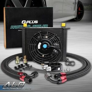 7 Electric Fan Kit Universal 30 Row 10an Engine Transmission Oil Cooler Kit
