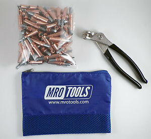 100 1 8 Cleco Sheet Metal Fasteners Plus Cleco Pliers W Carry Bag k1s100 1 8