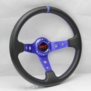 Racing Steering Wheel Universal Fit Blue 6 Hole Pvc Leather 13 5 X3 5 8 Depth