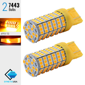 2x 7443 7440 Led Amber Yellow Rear Turn Signal Blinker Parking Light Bulbs