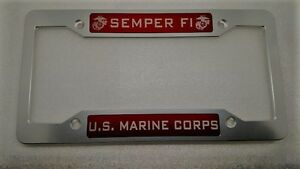 Semper Fi Marines Billet Alum License Plate Frame Clear Anodized Red Badge