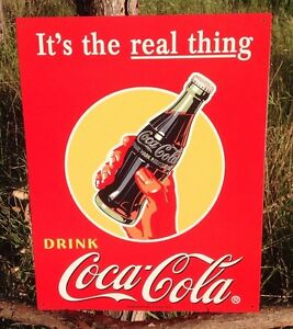 Vintage Coca Cola Sign Tin Metal Soda Pop Bottle Advertising Its the Real Thing