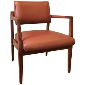 Rare Limited Edition Mid Century Modern Leather Armchair By Jens Risom