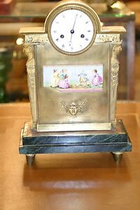 French Empire Gilded Figural Bronze Mantel Clock 19c Hand Painted