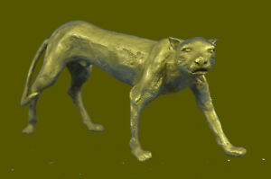 Collectible Statue Bronze Sculpture Animal Large Sleek Cougar Lucky Figure Db