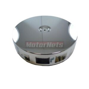 14 Round Louvered Chrome Air Cleaner Top Lid Only Street Hot Rat Rod Chevy Ford