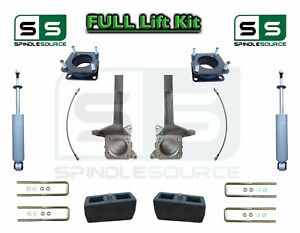 6 4 Inch Spindle Block Lift Kit Rear Shocks Fits 2007 18 Toyota Tundra 2wd