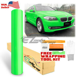 Fluorescent Gloss Neon Green Car Sticker Decal Vinyl Wrap Air Release Sheet Film