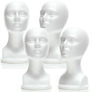 Mn 434 4 Pcs Female Styrofoam Mannequin Head Bust With Partial Shoulder