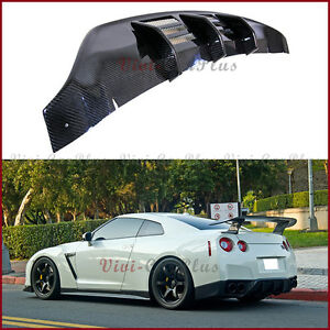 For 08 11 Nissan Gt r R35 Cba W Type Carbon Fiber Rear Bumper Replace Diffuser