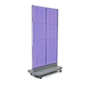 New Purple Pegboard Floor Stand With Silver Metal Wheeled Base 32 w X 60 H