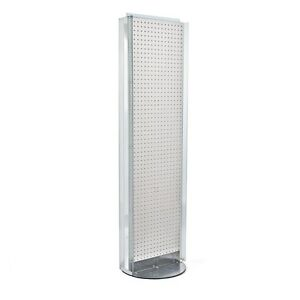 New White 2 Sided Pegboard Floor Display Stand With Revolving Base 16 w X 60 H