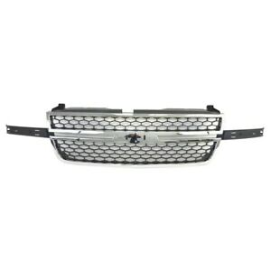 Am New Chrome Grille W Insert For 03 07 Silverado Ss 1500 2500 3500 Ss Honeycomb