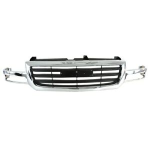 Chrome Grille Shell W Black Insert Trim For 2003 2007 Gmc Sierra 1500 19130791