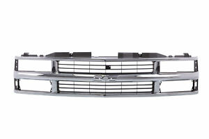 Chrome Grille W Black Insert For 94 98 Chevy C K 1500 2500 3500 Truck Composite