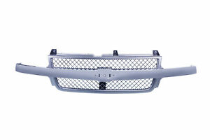 Am Front Grille W chrome Bar Black Shell For 01 02 Chevy Silverado 3500 2500 Hd
