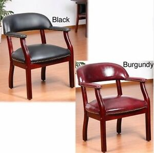 Captain s Guest Arm Chair Reception Chairs Black Red Cushion Office Furniture
