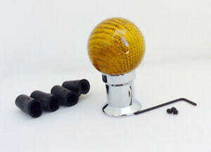 Universal Car Truck Carbon Fiber Gold Shift Knob Ball Shifter Gear Trail Racing