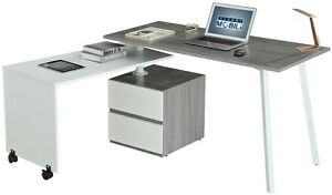 Unique Rotating Multi positional Modern Computer Desk In Gray W 2 Storage Drawer