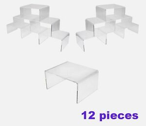 Wholesale 6 Sets Of Acrylic Risers Display 12 Pieces 72 Pcs Plinth Stand 4 W