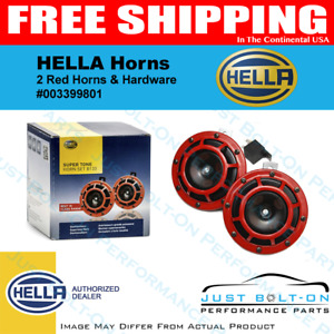 Hella Red Super Tone Dual Car Horns 12v 118db Loud Authentic Horn Kit 003399801