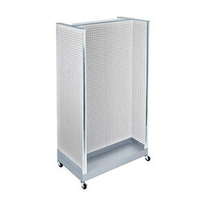White Neon Plastic Pegboard Floor Display H Unit On Wheeled Base 36 w X 66 H