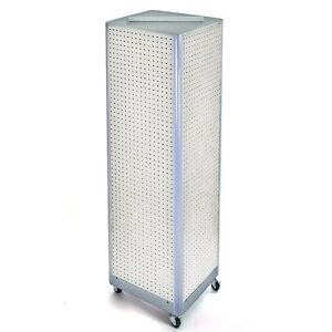 White Pegboard Floor Display Square Tower Spinner With Metal Base 16 w X 60 h