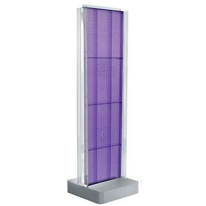 New Purple Two sided Pegboard Floor Display On Studio Base W C channels