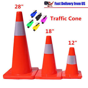 12 18 28 Reflective Red Wide Body Safety Cones Construction Tr