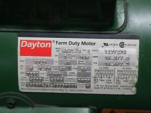 Dayton Farm Duty Motor 6k727s 1hp