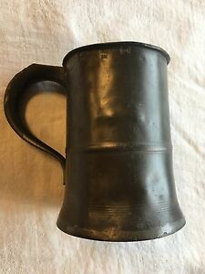 Antique 19th Century Victorian British Pewter Quart Tankard Mug English