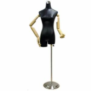 Mn 213 Black Leathertte Ladies Female Dress Form With Flexible Arms And Fingers