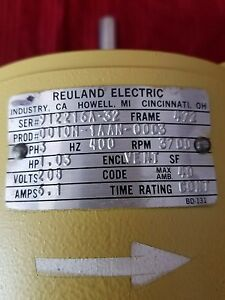 Reuland Ac Motor 3ph 400hz 3700rpm 208v
