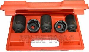 5pc 1 2 Dr Front Back Sae Wheel Spindle Axle Nut Deep Impact Socket Set