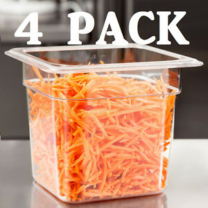 4 Pack 1 6 Size Clear Plastic Steam Prep Table Food Pan 6 Deep Polycarbonate